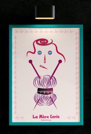 Idéale pour les accros à la couture et au tricot ! L'affiche 'La Mère Cerie' by Celineclic